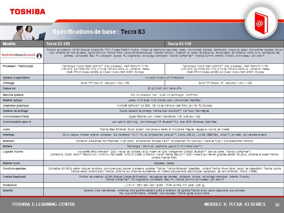 Spécifications de base : Tecra S3