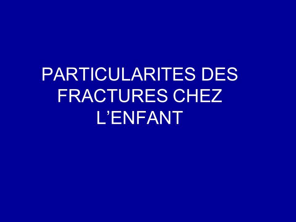 PARTICULARITES DES FRACTURES CHEZ L'ENFANT