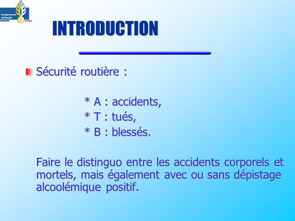 INTRODUCTION Sécurité routière : * A : accidents, * T : tués,
