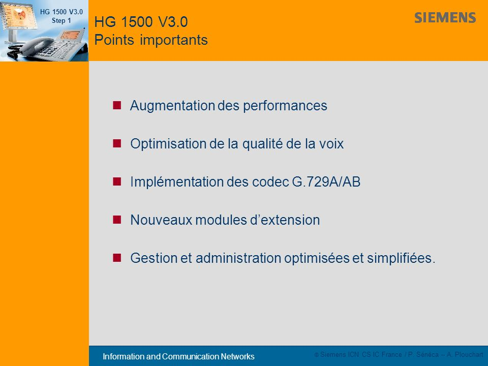HG 1500 V3.0 Points importants Augmentation des performances