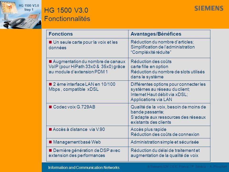 HG 1500 V3.0 Fonctionnalités Fonctions Avantages/Bénéfices