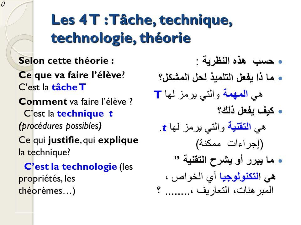 Les 4 T : Tâche, technique, technologie, théorie