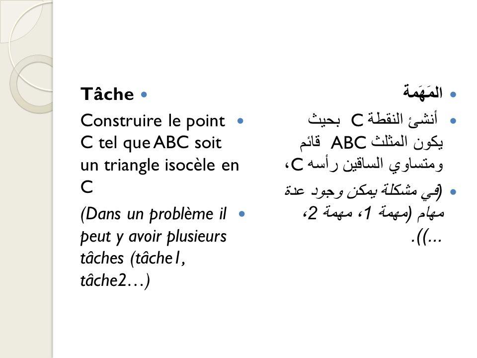 TâcheConstruire le point C tel que ABC soit un triangle isocèle en C. (Dans un problème il peut y avoir plusieurs tâches (tâche1, tâche2…)