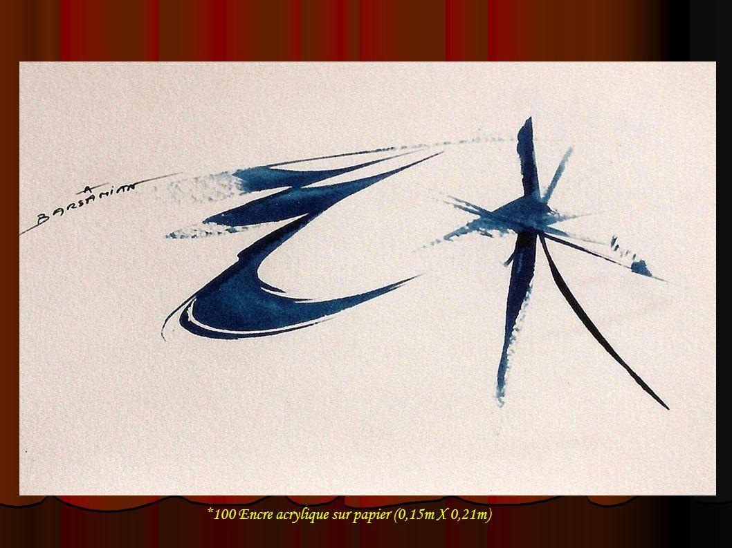 *100 Encre acrylique sur papier (0,15m X 0,21m)