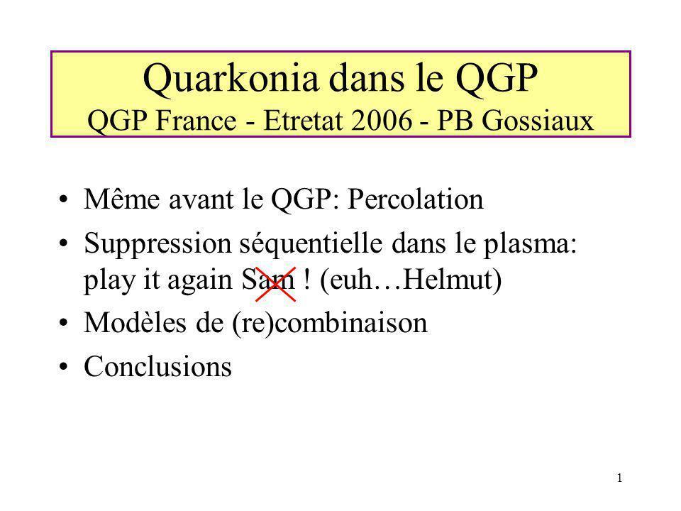 Quarkonia dans le QGP QGP France - Etretat 2006 - PB Gossiaux