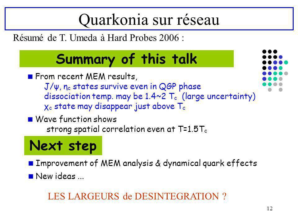 Quarkonia sur réseau Summary of this talk Next step