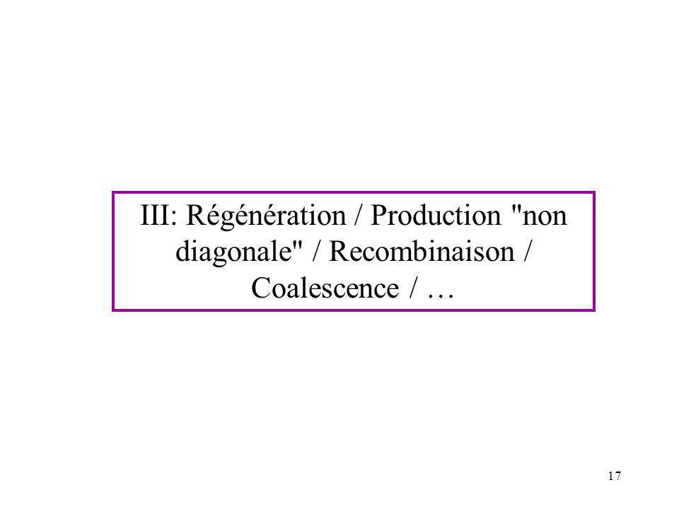III: Régénération / Production non diagonale / Recombinaison / Coalescence / …