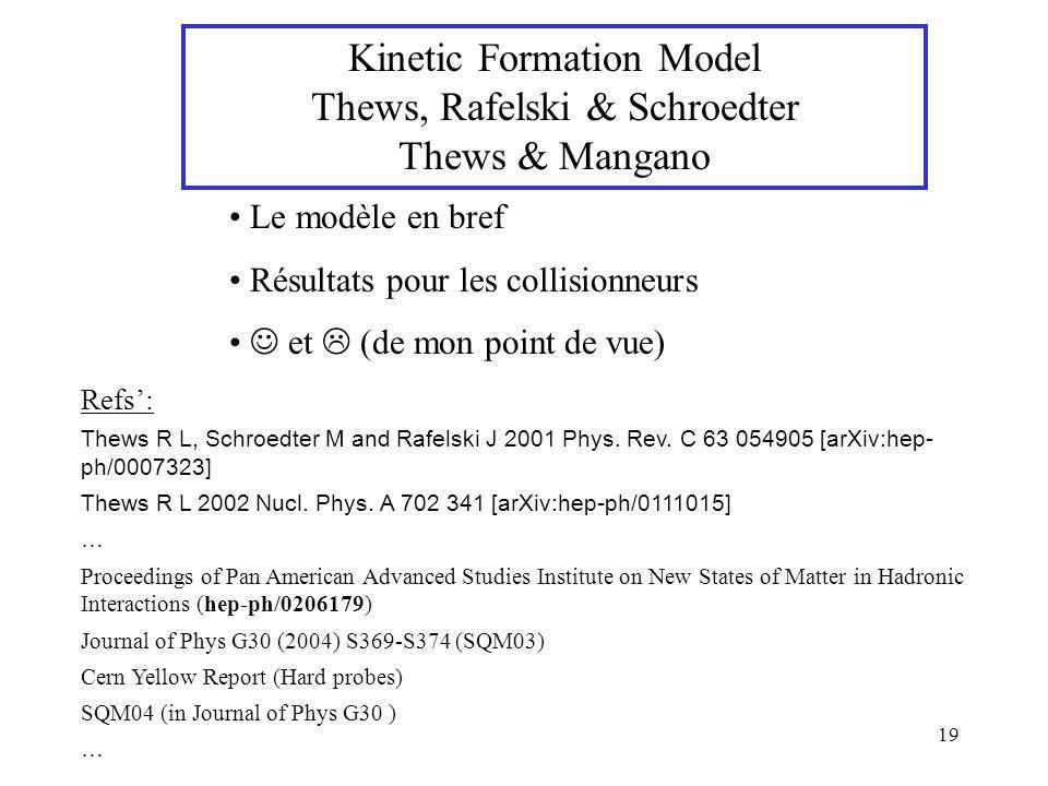 Kinetic Formation Model Thews, Rafelski & Schroedter Thews & Mangano