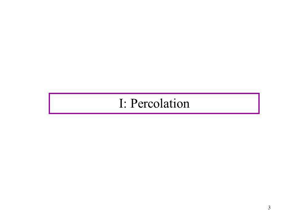 I: Percolation