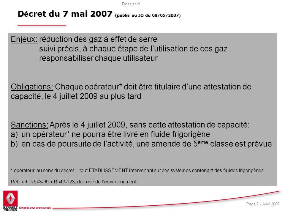 Décret du 7 mai 2007 (publié au JO du 08/05/2007)