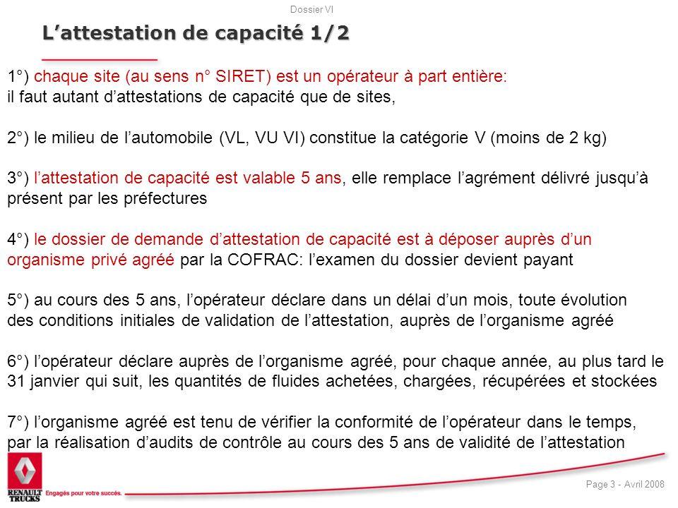 L'attestation de capacité 1/2