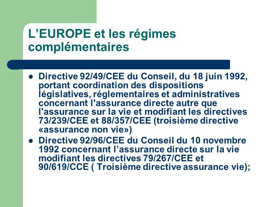 L'EUROPE et les régimes complémentaires