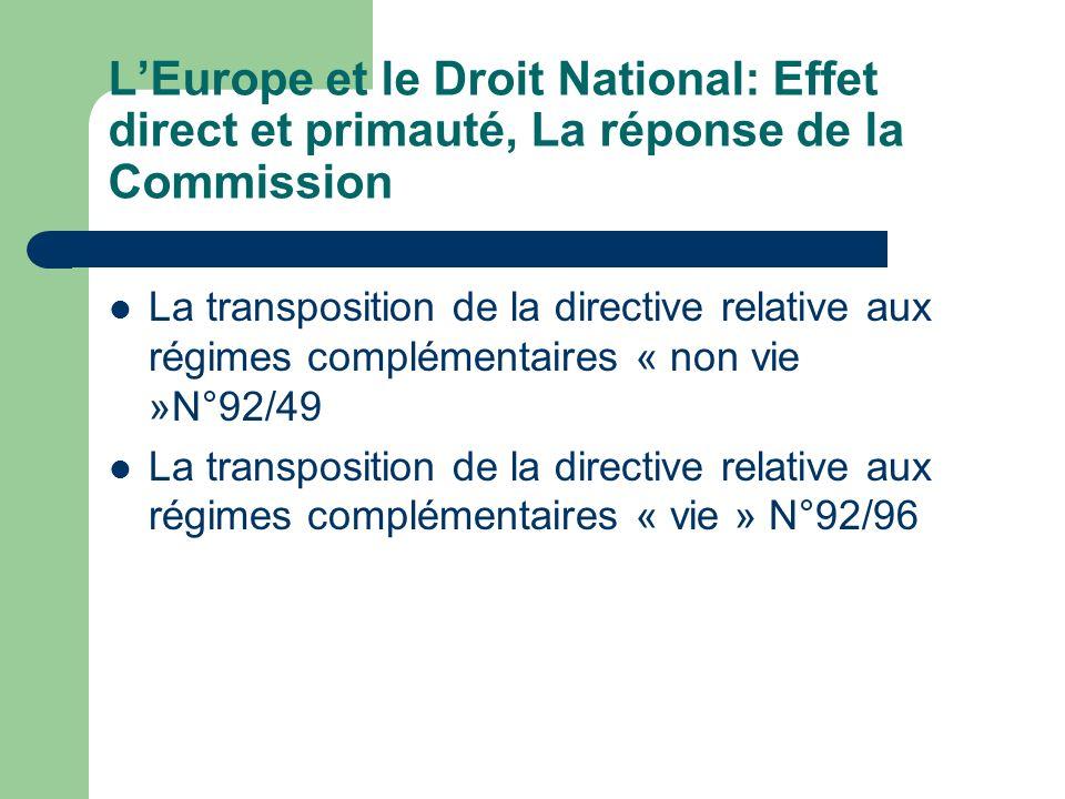 L'Europe et le Droit National: Effet direct et primauté, La réponse de la Commission