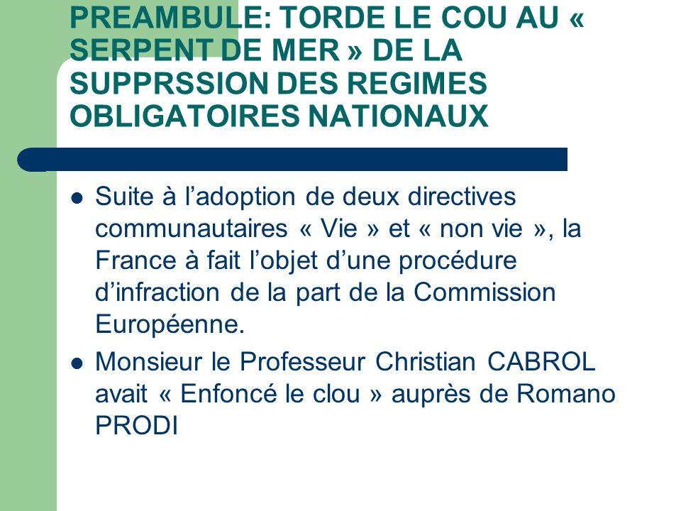 PREAMBULE: TORDE LE COU AU « SERPENT DE MER » DE LA SUPPRSSION DES REGIMES OBLIGATOIRES NATIONAUX