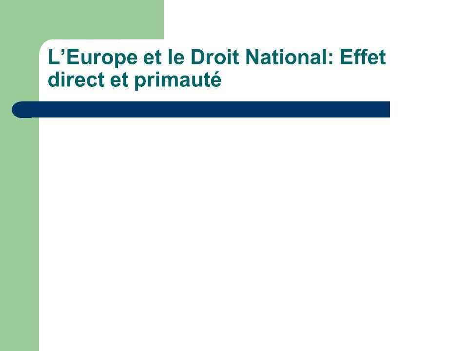 L'Europe et le Droit National: Effet direct et primauté