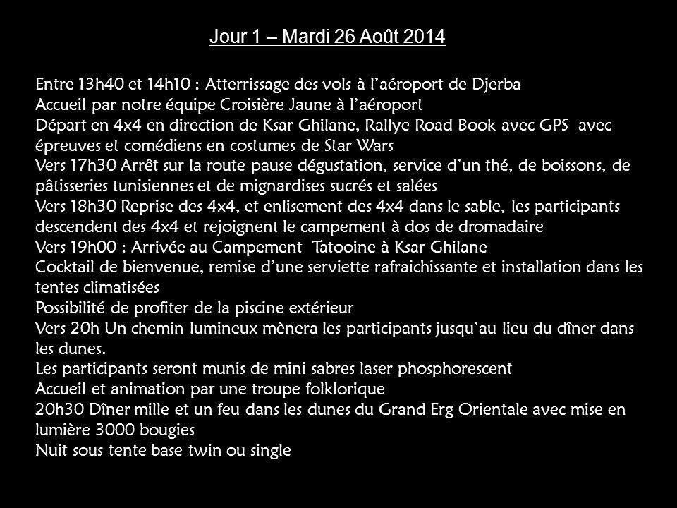 Jour 1 – Mardi 26 Août 2014 Entre 13h40 et 14h10 : Atterrissage des vols à l'aéroport de Djerba.