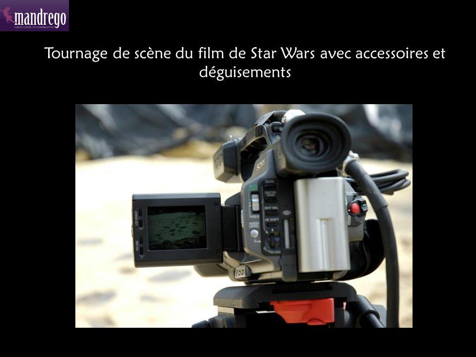 Tournage de scène du film de Star Wars avec accessoires et déguisements