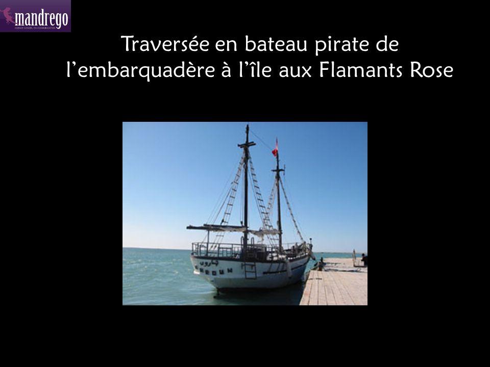 Traversée en bateau pirate de l'embarquadère à l'île aux Flamants Rose