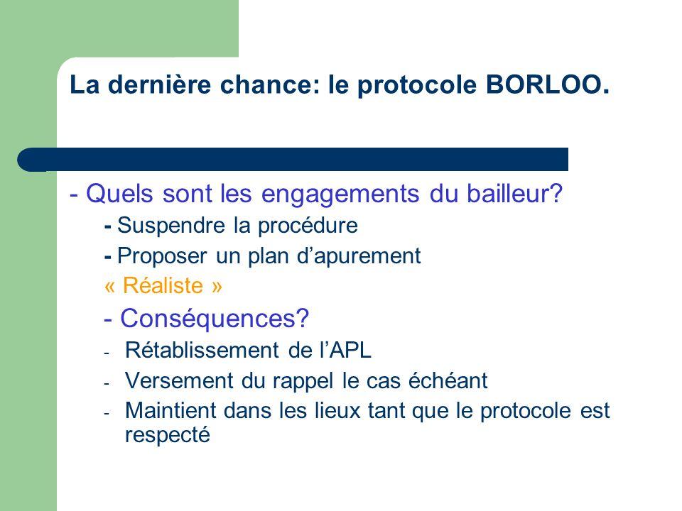 La dernière chance: le protocole BORLOO.