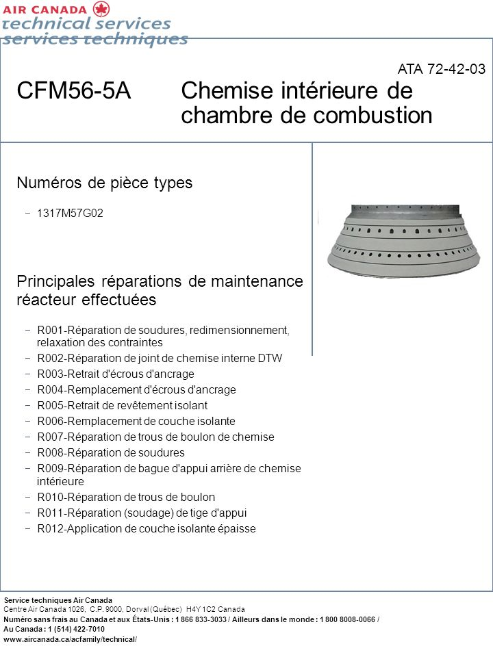 CFM56-5A Chemise intérieure de chambre de combustion