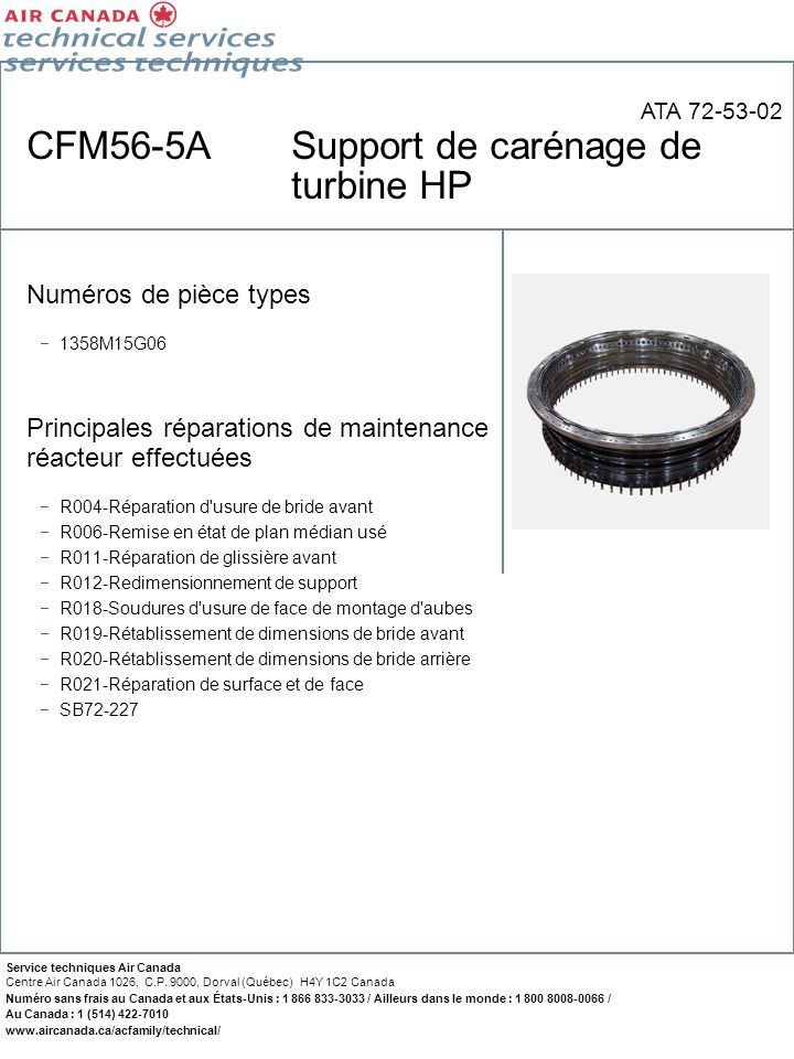 CFM56-5A Support de carénage de turbine HP