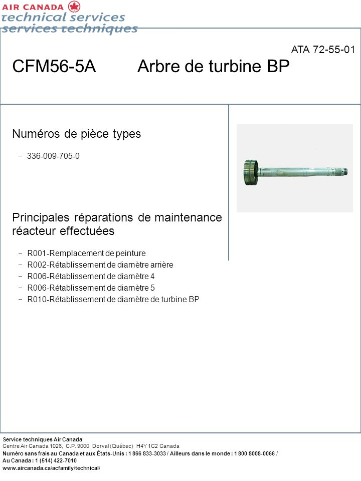CFM56-5A Arbre de turbine BP