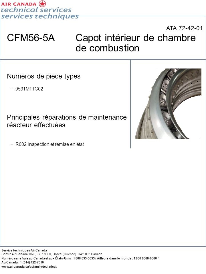 CFM56-5A Capot intérieur de chambre de combustion