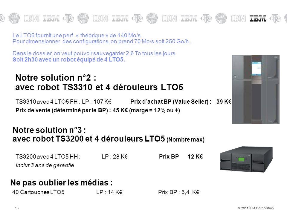 Notre solution n°2 : avec robot TS3310 et 4 dérouleurs LTO5