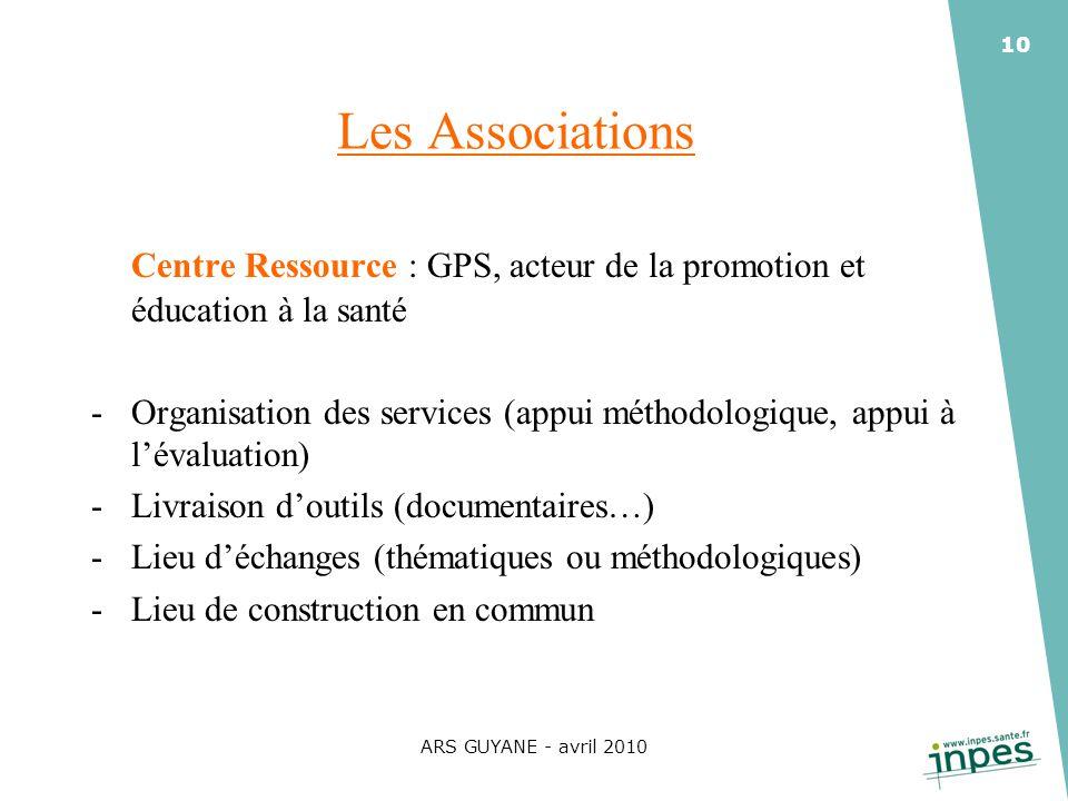 Les Associations Centre Ressource : GPS, acteur de la promotion et éducation à la santé.