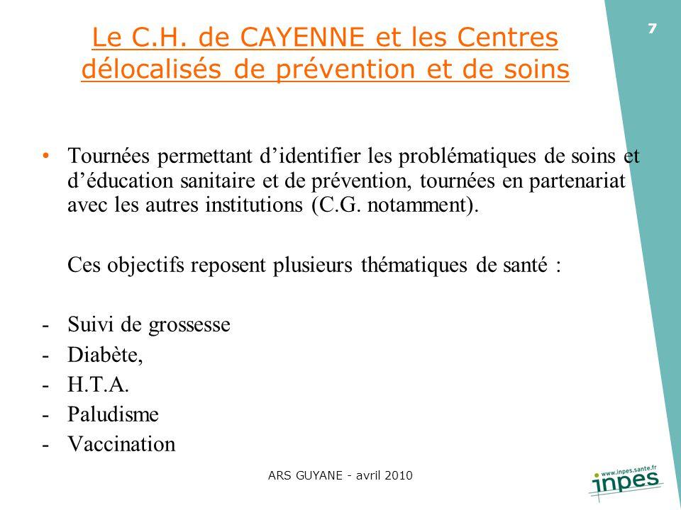 Le C.H. de CAYENNE et les Centres délocalisés de prévention et de soins