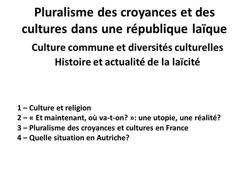 Pluralisme des croyances et des cultures dans une république laïque