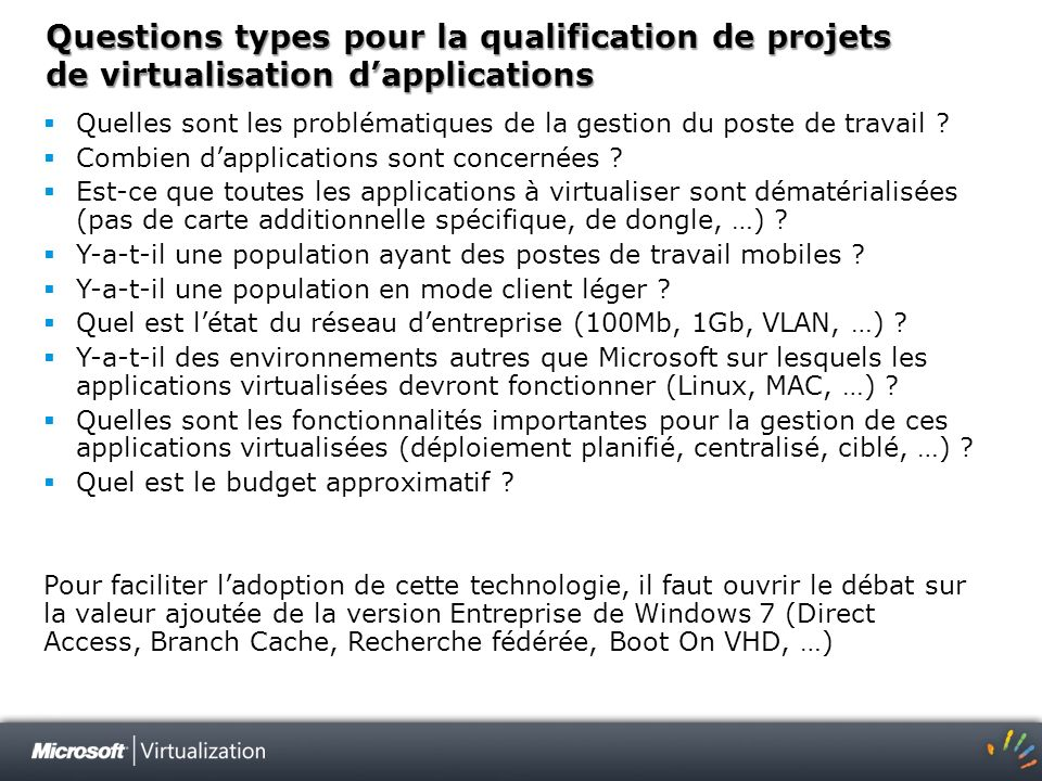 Questions types pour la qualification de projets de virtualisation d'applications