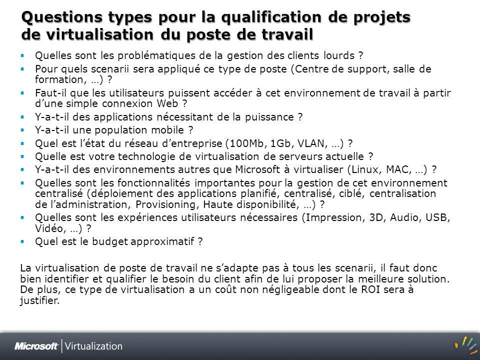 Questions types pour la qualification de projets de virtualisation du poste de travail