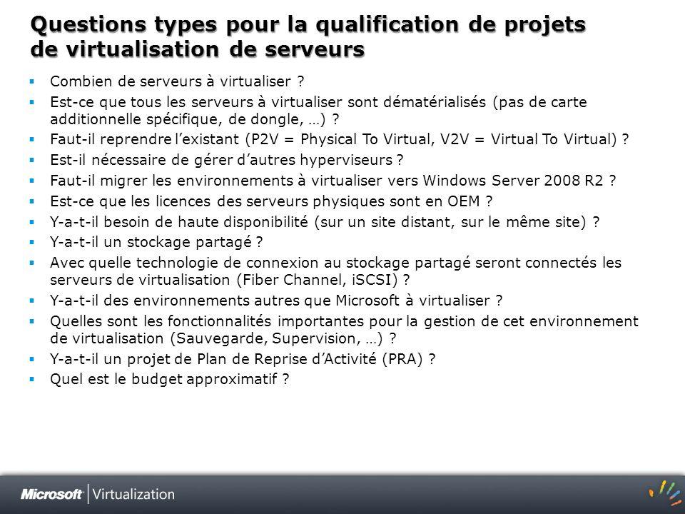 Questions types pour la qualification de projets de virtualisation de serveurs