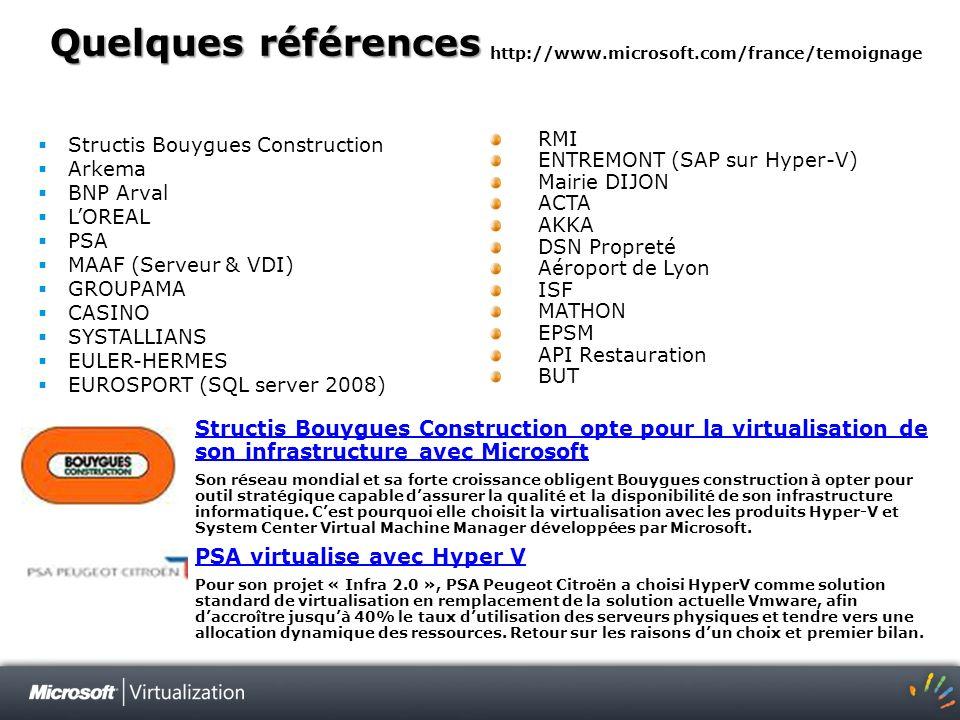 Quelques références http://www.microsoft.com/france/temoignage. Structis Bouygues Construction. Arkema.