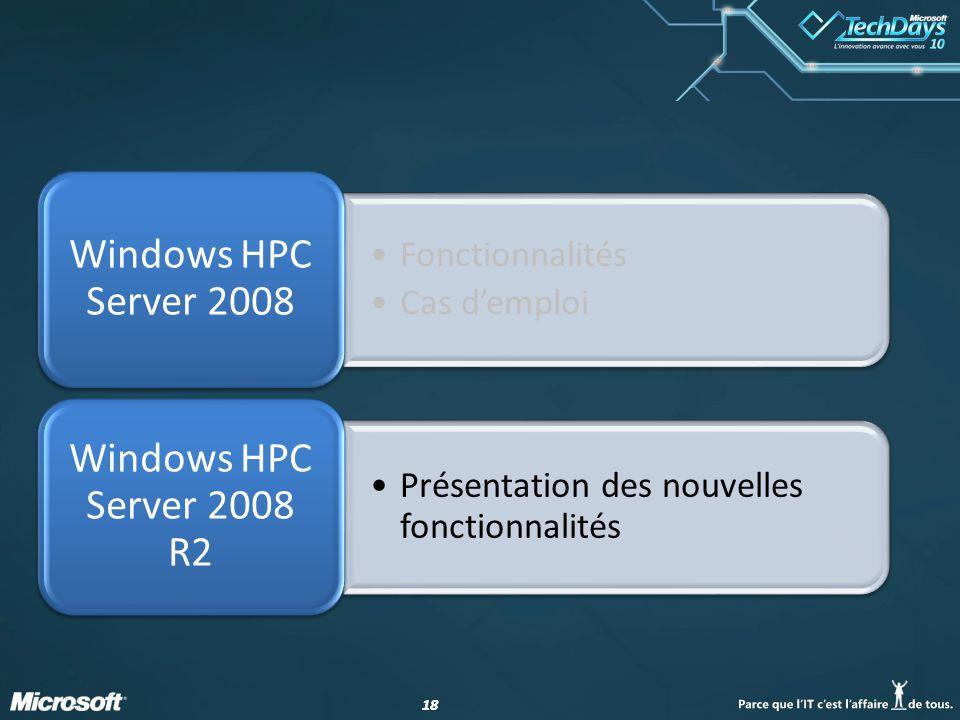 Windows HPC Server 2008 R2 Windows HPC Server 2008 Fonctionnalités