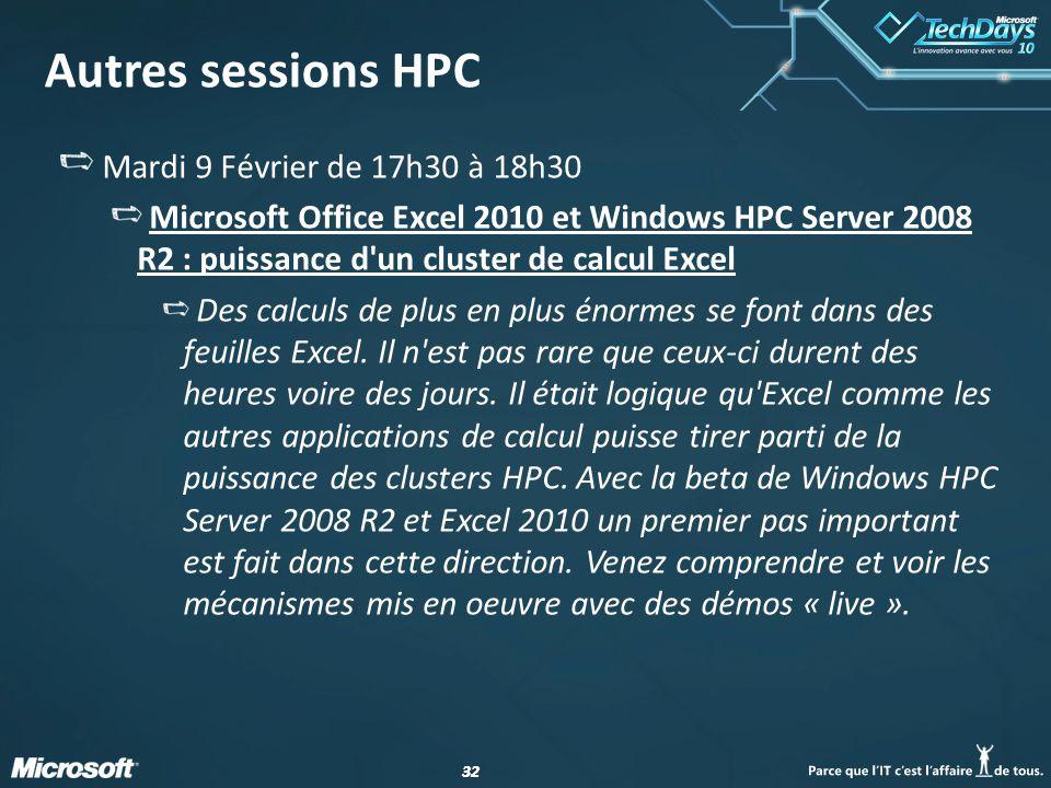 Autres sessions HPC Mardi 9 Février de 17h30 à 18h30
