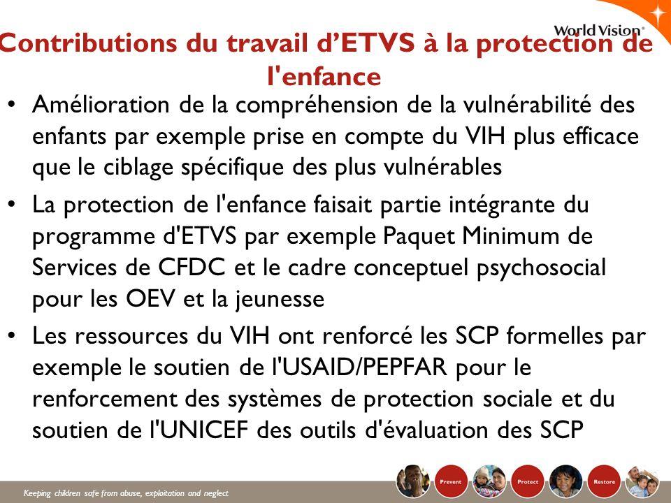 Contributions du travail d'ETVS à la protection de l enfance