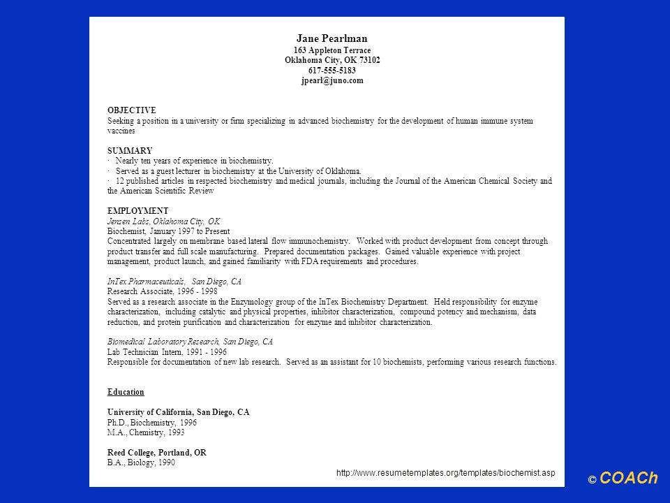 Jane Pearlman163 Appleton Terrace. Oklahoma City, OK 73102. 617-555-5183. jpearl@juno.com. OBJECTIVE.