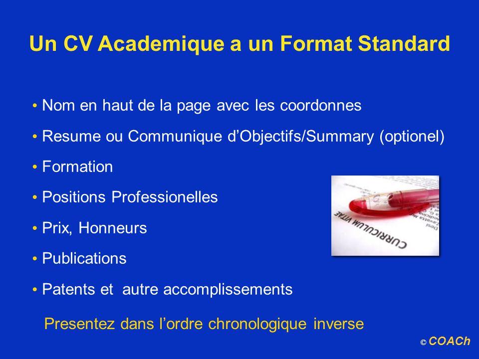 Un CV Academique a un Format Standard