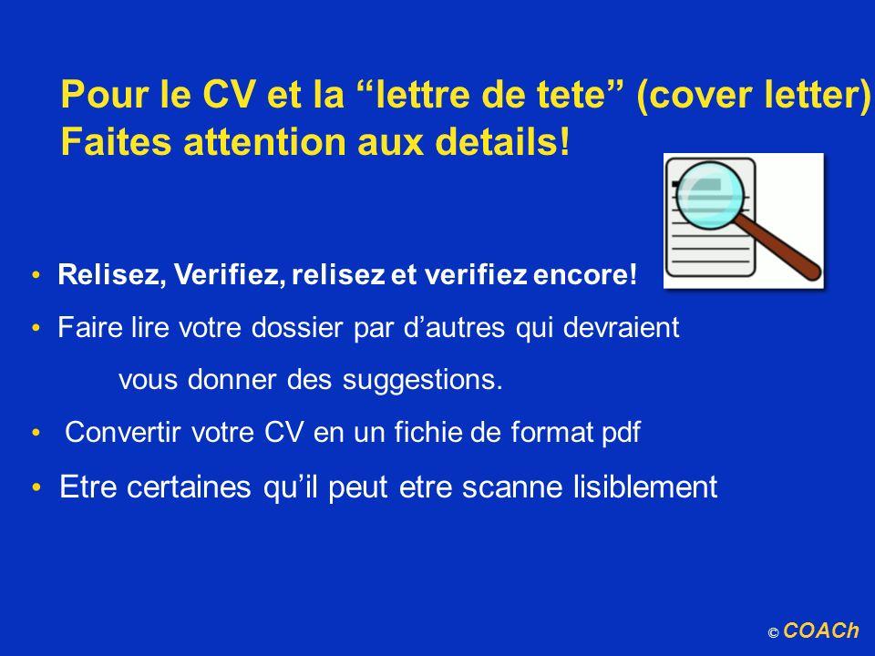 Pour le CV et la lettre de tete (cover letter)