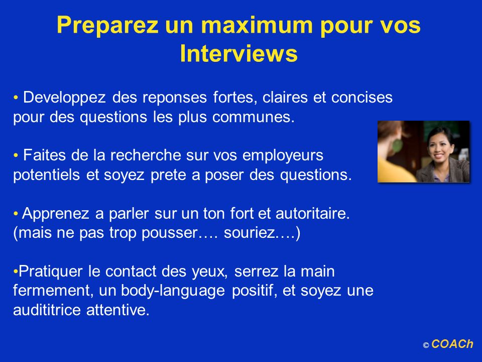 Preparez un maximum pour vos Interviews