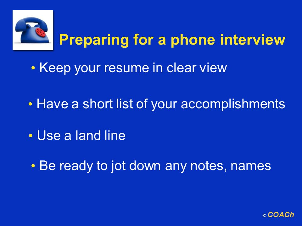 Preparing for a phone interview