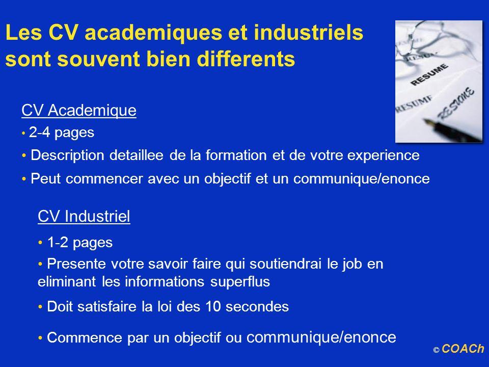 Les CV academiques et industriels sont souvent bien differents