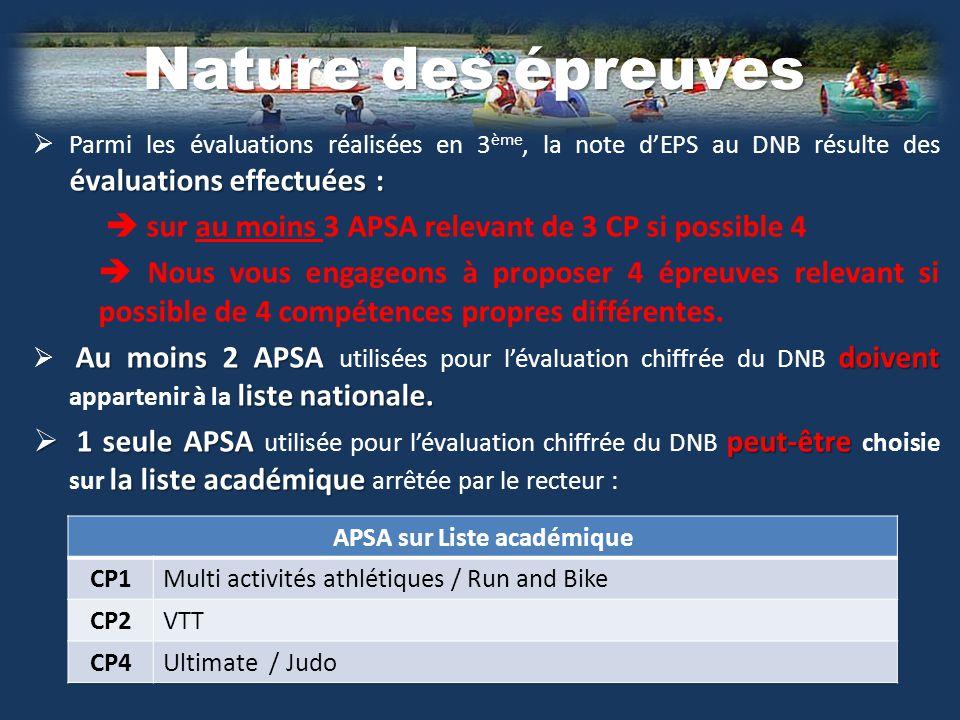 APSA sur Liste académique