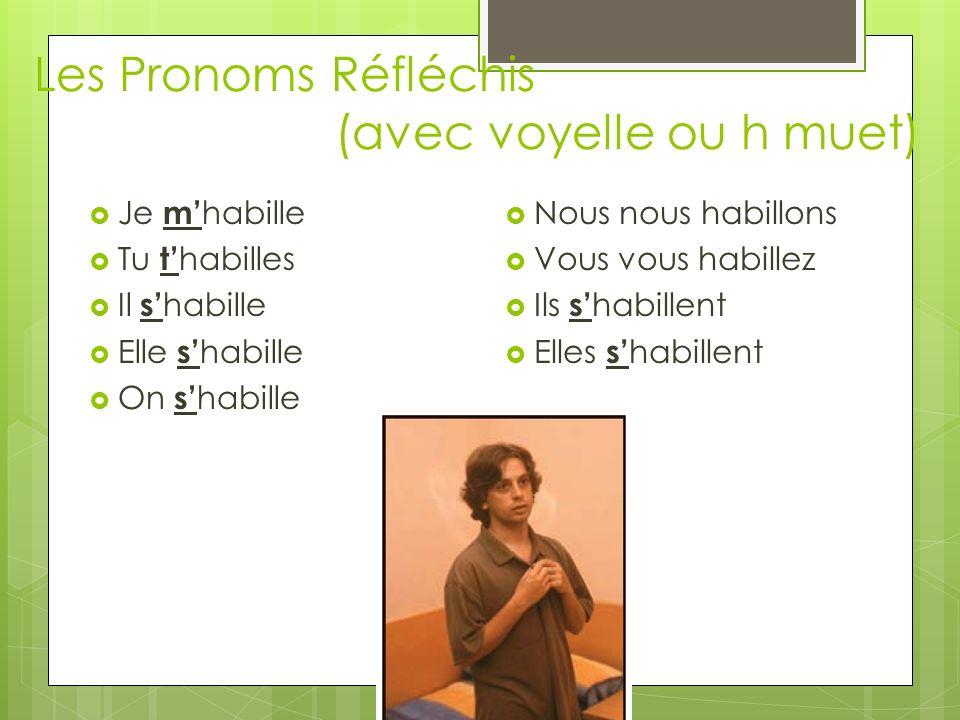 Les Pronoms Réfléchis (avec voyelle ou h muet)