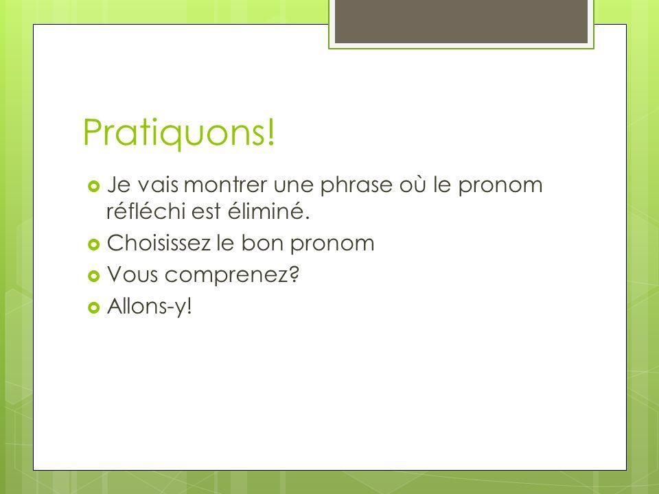 Pratiquons! Je vais montrer une phrase où le pronom réfléchi est éliminé. Choisissez le bon pronom.