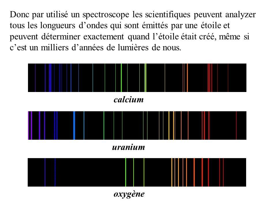 Donc par utilisé un spectroscope les scientifiques peuvent analyzer tous les longueurs d'ondes qui sont émittés par une étoile et peuvent déterminer exactement quand l'étoile était créé, même si c'est un milliers d'années de lumières de nous.