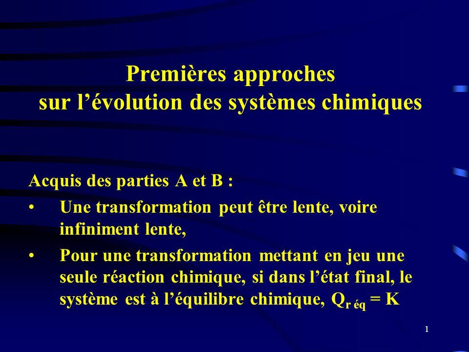 Premières approches sur l'évolution des systèmes chimiques
