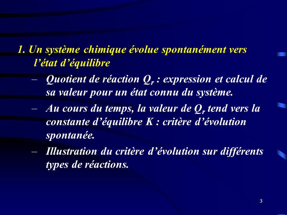 1. Un système chimique évolue spontanément vers l'état d'équilibre